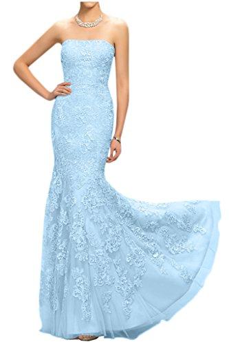 Victory Bridal Glamour Rosa Spitze Damen Abendkleider Meerjungfrau Partykleider Lang Promkleider Himmel Blau