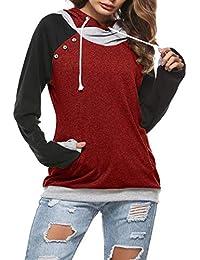 d8711d75d7970 BLACKMYTH Mujer Casual Talla Grande Cordón Sudaderas con Capucha Color  Block Bolsillo Hoodies Pullovers Túnico