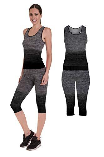 Bonjour Set di canotta e leggings da donna elasticizzati abbigliamento sportivo set per yoga e palestra