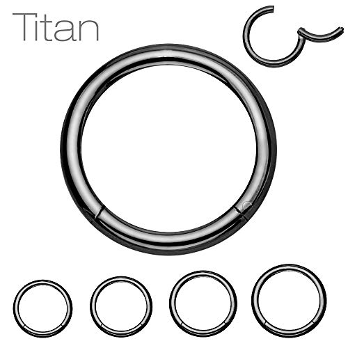 Treuheld® Segmentring Piercing Clicker | 0,8mm x 8mm | Titan | Schwarz | Klicker Ring für Helix, Septum, Tragus, Ohr, Bauchnabel Lippe Intim Auge
