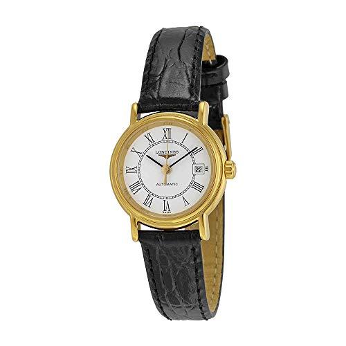 Longines Femme 25mm Bracelet Cuir Noir Boitier Acier Inoxydable Saphire Automatique Montre L4.321.2.11.2