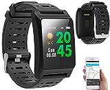Newgen Medicals Pulsuhr ohne Brustgurt: Fitness-GPS-Armbanduhr, Herzfrequenz-Anzeige, Farb-Display, App, IP68 (Smartwatch GPS)
