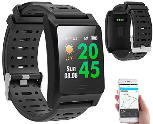 newgen medicals GPS Sportuhr: Fitness-GPS-Armbanduhr, Herzfrequenz-Anzeige, Farb-Display, App, IP68 (Smart Bracelet)