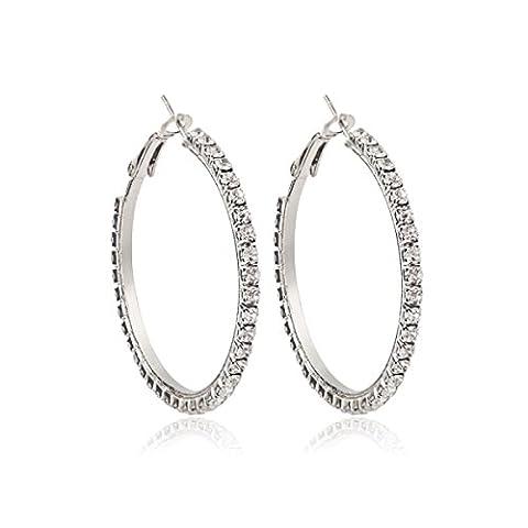 ZPXLGW Klassische Mode Temperament Weibliche Kreis Diamant Ohrringe,Silver-8cm
