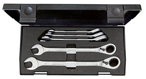 Gedore 7 UR-005 Satz Maulschlüssel mit Ringratsche, umschaltbar 5-tlg 8-19 mm (7 8 Umschaltbarer Schraubenschlüssel)