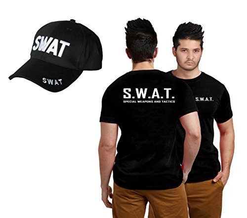 ADULT SWAT TEAM T-SHIRT & CAP SET KIT FANCY DRESS COSTUME POLICE FBI TACTICAL MILITARY (Men: Large) by Wicked Fun (Shirt Kostüm Police)