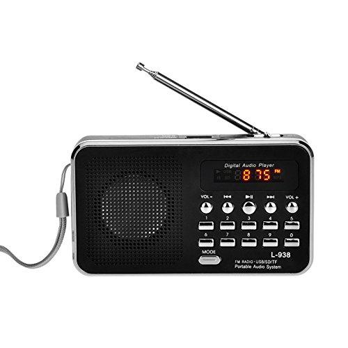 iMinker Mini-Digital-beweglicher FM Radio-Mittel-Lautsprecher MP3-Musik-Spieler TF / SD Karte Usb-Scheiben-Hafen für PC iPod-Telefon mit LED-Anzeige und Akku (Schwarz)