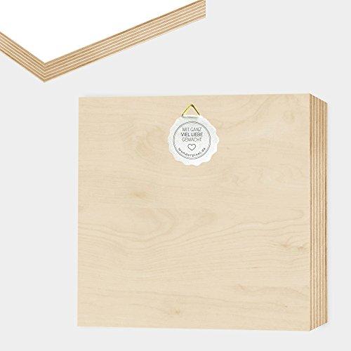 Wir sind eine Familie – einzigartiges Holzbild 15x15x2cm zum Hinstellen/Aufhängen, echter Fotodruck mit Spruch auf Holz – schwarz-weißes Wand-Bild Aufsteller Zuhause Büro Dekoration oder Geschenk