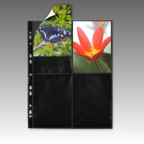 mashpaper Fotohüllen 77850 schwarz 100 Stück 10x15 cm Hochformat für 2x4 Fotos