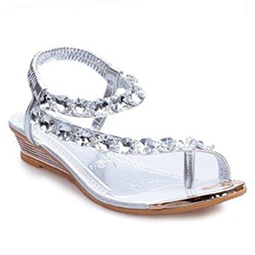 Donalworld - Chaussures dété et de plage pour femme, sandales à brides et strass, tongs, sandales à talons compensés Gladiator Argent - argent