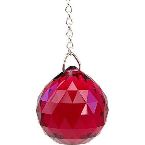 Boule Feng shui Cristal à facettes - coloris bordeaux - 3 cm