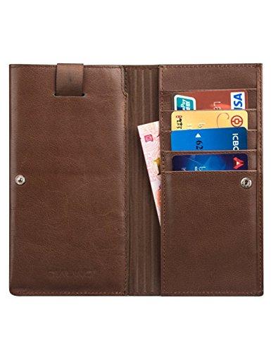 Étui portefeuille iPhone 6,6s, qialino élégant étui à rabat fermeture à clipser en cuir véritable Housse de protection (avec support magnétique d'embrayage, fente pour carte et monnaie p