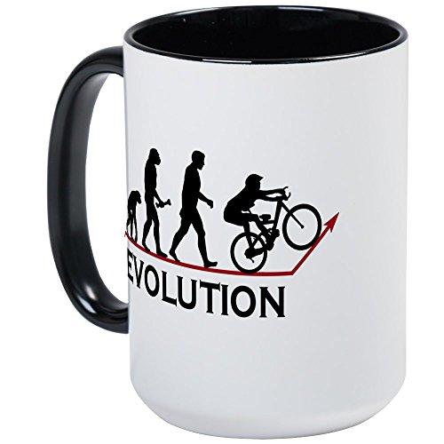 CafePress Vélo de montagne - Evolution - Mug à café, Large 15 g Blanc Tasse à café, Céramique, White/Black Inside, L