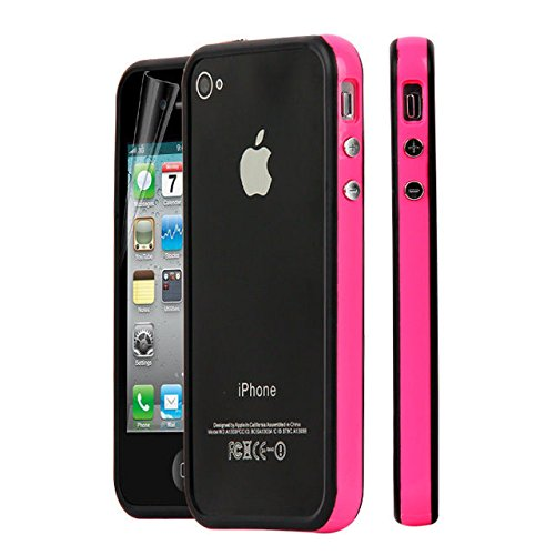 New Style Bumper Cover Jelly Case for Apple iPhone 4 4S amarillo-negro hot pink -black