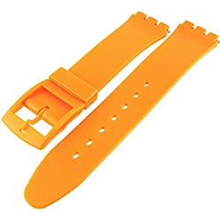 Swatch Style Orange Resin Rubber Watch Strap Band 14mm
