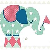 Anna Wand Bordüre Selbstklebend Elefanten Boys - Wandbordüre Kinderzimmer/Babyzimmer mit Elefanten in Versch. Farben - Wandtattoo Schlafzimmer Mädchen & Junge, Wanddeko Baby/Kinder