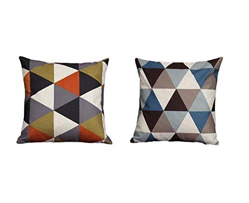 Haodou 2 Stück Geometrisch Dreieck Form Design Kissenbezug Weich Leinen  Kissenbezug Dekorativ Kissenbezug 45 X 45cm