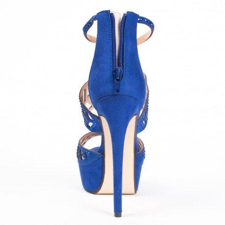 Ideal Shoes - Escarpins à brides ajourées et strassées Fabiola Bleu