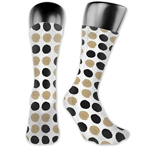 Dots Black And Gold Glitter Men's & Womens Athletic Crew Socks Running Gym Compression Foot