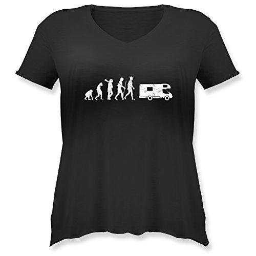 Evolution - Evolution Camper White - Weit Geschnittenes Damen Shirt in Großen Größen mit V-Ausschnitt Schwarz