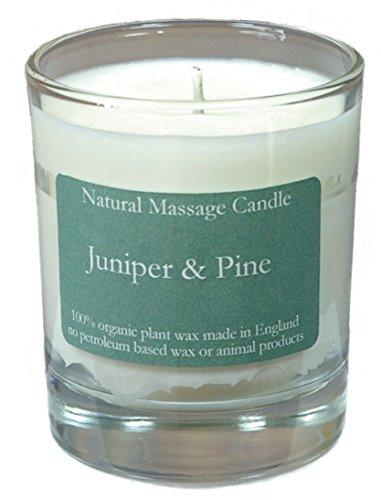 Massage Kerze JUNIPER & PINE (Wacholder & Tanne) aus 100% Pflanzenwachs im recyceltem Glas -