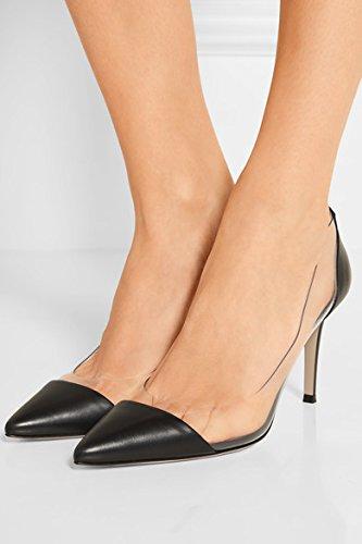 EDEFS Scarpe col Tacco Donna,Trasparente Scarpe,Cap-toe PVC Scarpe col Tacco Black