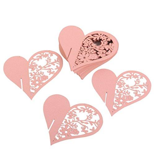 suxian ca. 50PCS Hochzeit Supplies Heart Form Weinglas Tischset Name Karten (Pink) (Vintage Karte Tischset)