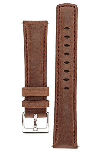 signature-traveller-22-mm-coffee-extra-long-watch-band-replacement-watch-strap-genuine-leather-silve