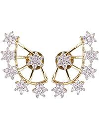 Karatcart Gold Metal American Diamonds Ear-cuff Styled Stud For Women