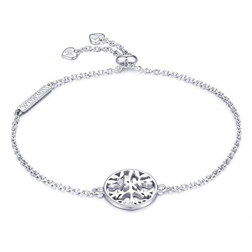 WISHMISS Damen Sterling Silber Armband Silber Baum des Lebens Armband Stammbaum Anhänger Einstellbare Kette Armband Blau Geschenk Box Schmuck Geschenk für Frauen / Mädchen