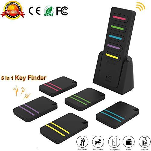 Wireless Key Finder, Locator Geldbörse Ältere Kinder Schlechte Erinnerung Pet Cell Gepäck Auto Anti-Verlorene Schlüsselsucher, Lange Standby-Zeit (1 Sender & 5 Empfänger) -