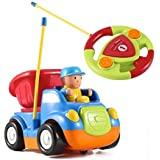 RC Cartoon Construction Car With Music And Light Electric Remote Control Dumper Truck Toy For Baby Toddlers Kids And Children By Joyjazz