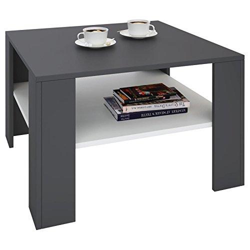 IDIMEX Table Basse SEJOUR, Table de Salon de Forme carrée avec 1 étagère Espace de Rangement Ouvert, en mélaminé Gris Mat et Blanc Mat