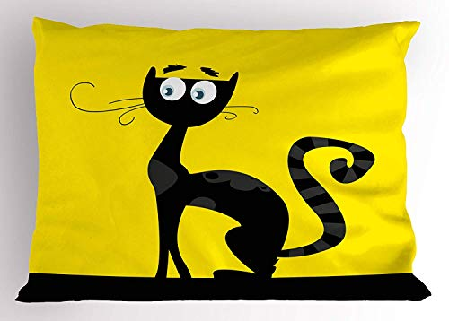 toon Style Drawing of a Black Cat Silhouette Unlucky Animal Halloween Theme Image, Decorative Standard Queen Size Printed Pillowcase, 30 X 20 inches, Yellow Black ()