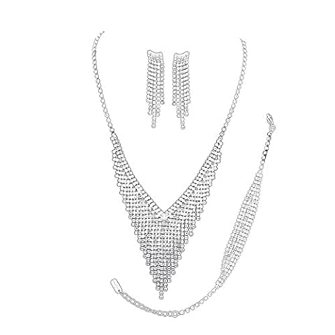 Rosemarie Collections Women's 3 Piece Bridal Jewelry Set Silver Tone Rhinestone Fringe Simply