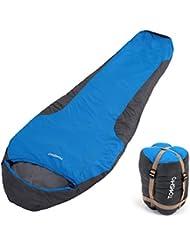 TOMSHOO Saco de Dormir Momia Una Persona Ligero con Bolsa de Compresión Al Aire Libre Camping Excursiones