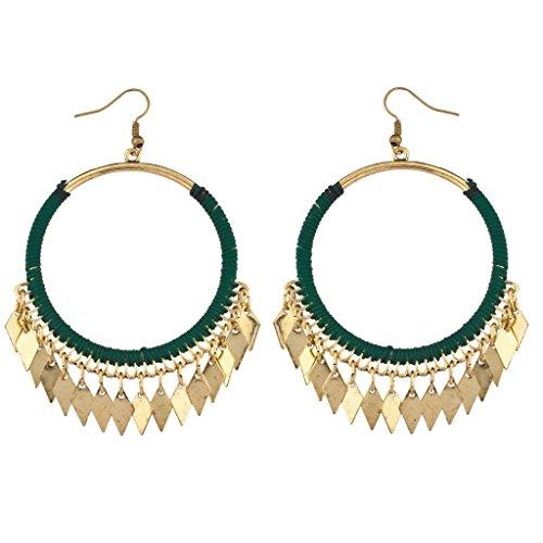 LUX Zubehör Diamant Anhänger grün baumeln Hoop Ohrringe (Saphir Und Diamant Ohrringe Kostüme)