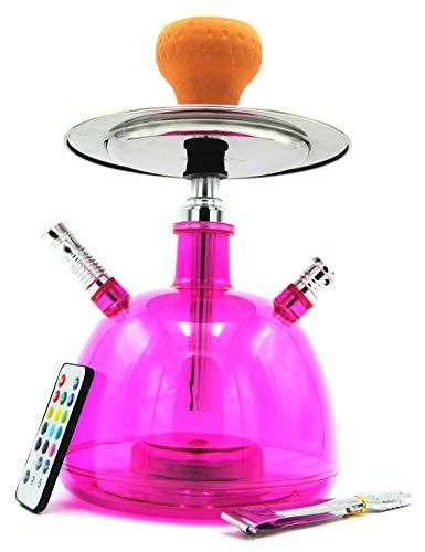 Cachimba Shisha LED Pipa de Agua 28 CM Pack Hookah Electronica de Tabaco Narguile (Rosa)