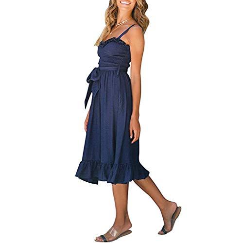 Beikoard Damen Kleid Bodycon-Kleid Sexy Feste Fliege Schulterfrei A-Linien-Kleid Ärmellos Schleuder Rüsche Ballkleid Fit Flare Kleid