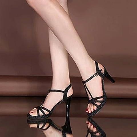 SDKIR Herr Ronald rauhe mit High Heels Damen Schuhe Leder auf dicke Scheibe Freizeitaktivitäten Rutschfeste weiblichen Sandalen 38 (Scheibe Gürtel)