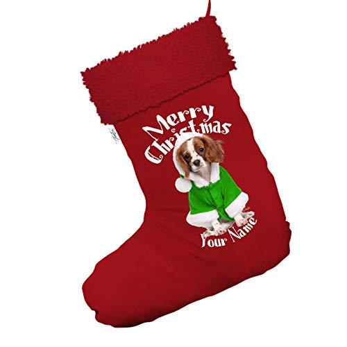personalisierbar Spaniel Wearing Santa Kostüm Jumbo rot Deluxe Weihnachtsstrumpf mit rotem Rand