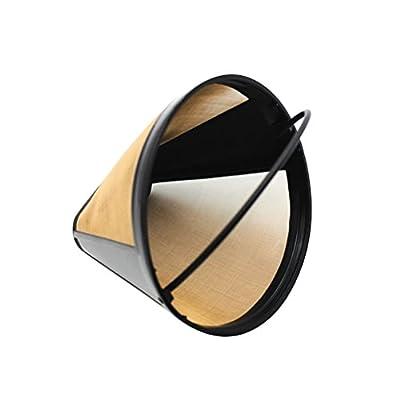 BESTOMZ Cone Coffee Filter Reusable Stainless Steel Drip Cone (Golden)