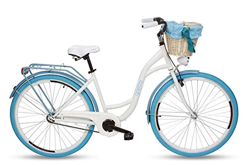Goetze Colours 28 Zoll Damen Citybike Stadtrad Damenfahrrad Damenrad Hollandrad Retro-Design Korb Hinterradbremse LED-Beleuchtung Weiß-Blau