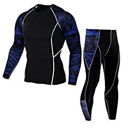 Men Fast-drying High-quality Sports Top-floor Yoga Pants Set - Man Workout Leggings Fitness Sports Gym Running Yoga Athletic Pants+shirt Suit (S, Blue)