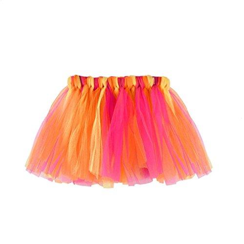 QinMM Falda Niña Chicas Enaguas Arco Iris Tutú Vistoso Vestir Ropa de Baile Costume (I)