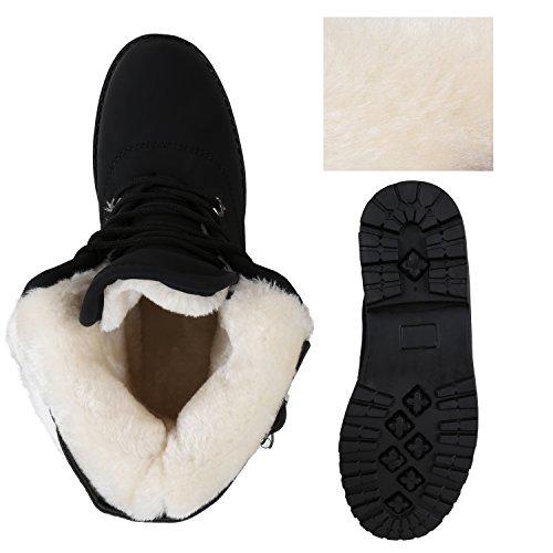 Stiefelparadies Damen Stiefeletten Warm Gefütterte Worker Boots Outdoor Schuhe Flandell Schwarz