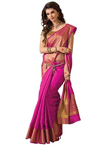 TAANSHI Women's Tassar Silk Saree With Blouse Piece (Taanshi2614D_Pink)