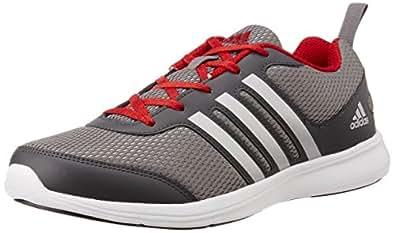 adidas Men's Yking M Dark Grey, Grey, Silver and Red Running Shoes - 10 UK