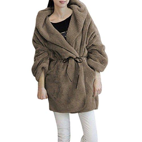 Damen Mantel,FRIENDGG Frauen Mädchen Winter Warm Mit Kapuze Flauschigen Kunstpelz Poncho Mantel Langarm Mode Lässig Täglich Solide Elegante Fleeceoberbekleidung Jacke Parka (Khaki, Freie Größe) (Militär-cape)