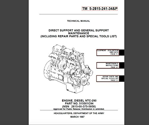 DIRECT SUPPORT AND GENERAL SUPPORT MAINTENANCE (INCLUDING REPAIR PARTS AND SPECIAL TOOLS LIST) CUMMINS ENGINE, DIESEL NTC-290 (English Edition) (Cummins Engine)